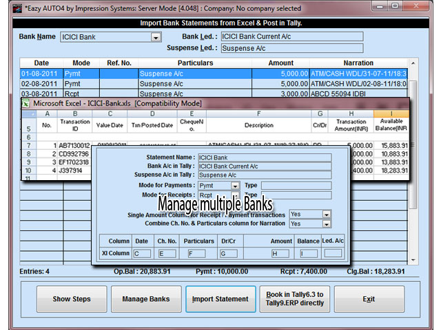 Import Bank Statements from Excel to Tally